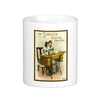 Vintage Singer Sewing Machine Ad Mug