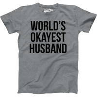 Men's Sale World's Okayest Husband Funny T-shirt, Cool Shirts, Gifts for Him, Anniversary, Birthday, Wedding, Geek Shirts