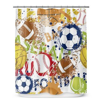 Boys Shower Curtain Game_time