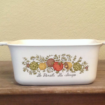 Corning Ware Spice of Life Le Persil, La Sauge Rectangle Casserole, Vintage Kitchen