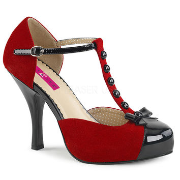 Pleaser Pink Label Red and Black T-Strap Pumps