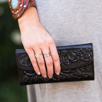 Western Tooled Leather Wallet in Black