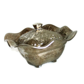 Vintage metal candy, nut BOWL with lid & knob. EMBOSSED flowers. Wavy RUFFLED rim. Silvertone copper alloy, Made in Turkey, Ottoman design