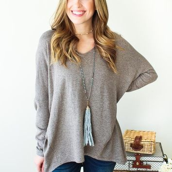 Jamie V-neck Sweater- Mocha
