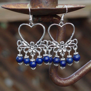 Blue Heart Lapis Lazuli Chandelier Earrings ~ Gift for Mom ~ Valentine Heart ~ Bohemian Earrings ~ Boho Jewellery ~ Gift for Girlfriend