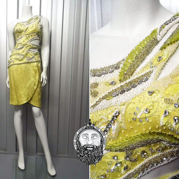 Vintage 70s 80s DARNELL Couture Dress XS Silk Beaded Dress Rhinestone Dress Cut Out Dress One Shoulder Dress Tulip Skirt Lemon Yellow Sheer