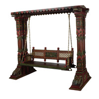 Teak Wood Intrinsic Carving Hand Painted Swing Set With Brass Chain