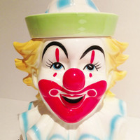 Fun Vintage Collectible Schmid Clown Cookie Jar