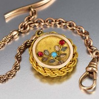 12K Gold Filled Turquoise Garnet Pocket Watch Chain