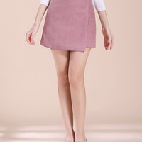Pink Wrap A-line Mini Skirt