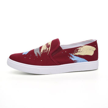 Mens Slip-On Canvas Shoes With Paint Marks