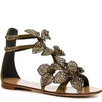 Shop  Giuseppe Zanotti Satin Flower Sandal Larger View