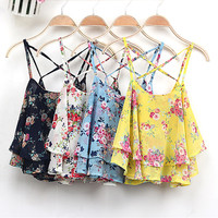 Women Summer Floral Print Chiffon Camis Vintage Vest Spaghetti Strap Casual Shirt Blouses Crop Top