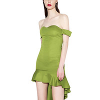 Green Bare Shoulder Ruffled Tail Dress