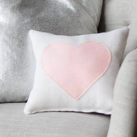 Cream Burlap Heart Pillow Valentine's Day Gift