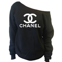Chanel Top Off-The-Shoulder Wide Neck Slouchy Sweatshirt