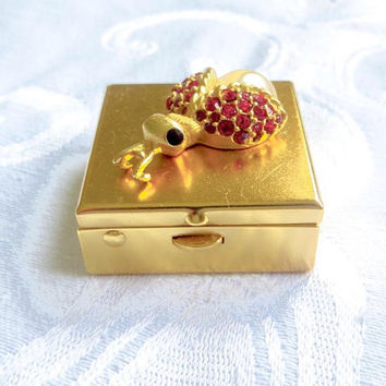 Vintage Ladybug Pill Box, Insect Pill Case, Trinket Case, Rhinestone Pearl Lady bug