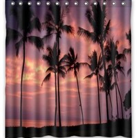 "Standard-Store Custom Hawaii Summer Beach Palm Tree Blue Sea Sunset Shower Curtain 66"" x 72"""