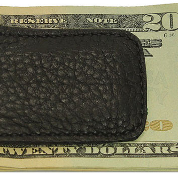 Black Genuine American Bison / Buffalo Leather Money Clip