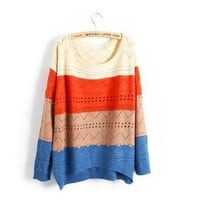 Spell Color Stripe Casual Long Sleeve Loose Sweater