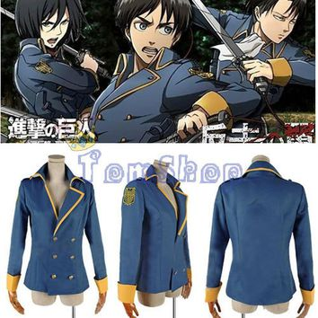 Cool Attack on Titan : The Wings of Counter Levi Eren Cospaly Costume Jacket Coat with Arm Badge Custom Size AT_90_11
