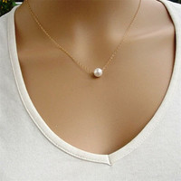 2016 Hot In USA and UK Romantic Cute Women Fashion Simple Imitate Pearl Bib Choker Statement Collar for women jewelry party