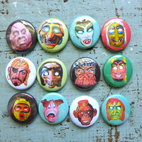 Vintage Halloween Mask Pins, Pinback Buttons, Retro Halloween Buttons, Spooky Halloween Backpack Pins, 12 Halloween Pins
