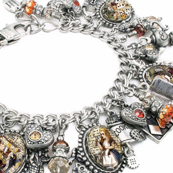 Alice in Wonderland Charm Bracelet, White Rabbit, Mad Hatter, The Queen