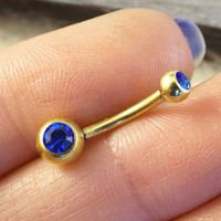 Simple Gold Cobalt Blue Belly Button Ring Jewelry