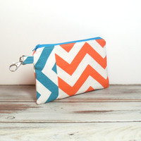 Small Clutch Purse - Turquoise and Orange - Chevron Print - Handbag Clutch - Clutch Wallet - Phone Clutch Wallet - Teen Clutch Bag