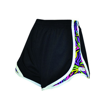 Womens Split Shorts black with colorful sides