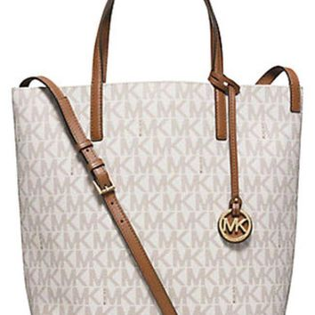 One-nice™ NWT Michael Kors Hayley Large MK Signature Convertible PVC Tote, Shoulder Bag
