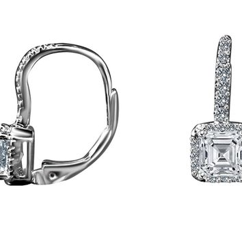 2CT TW Radiant square Simulated Diamond - Diamond Veneer Lever back Sterling Silver Earrings 635E15785
