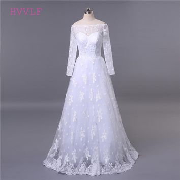 Lace Vestido De Noiva 2018 Muslim Wedding Dresses A-line Boat Neck Long Sleeves Lace Applique Cheap Wedding Gown Bridal Dresses