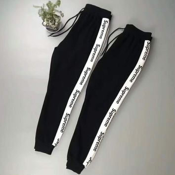 Supreme Men Fashion Casual Pants Print Trousers Sweatpants White Stripe G -CN-CFPFGYS