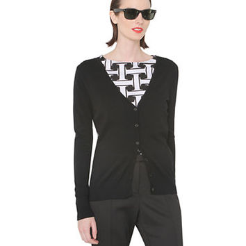 Isaac Mizrahi New York Mixed Media Cardigan Sweater
