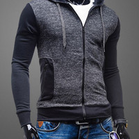 Block Zipper Pocket Hoodie Sweatshirt