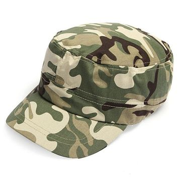 DCCKHN1 2014 Fashion Summer Kids Girls Boys Camo Camouflage Military Army Cadet Hat Flat Bill Sun Cap 2 Colors
