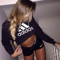 """Adidas"" Sexy Short Shirt Crop Long Sleeve Top Sweater Pullover"