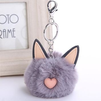 1 pc Silver Tone Fluffy Pompon Cat Keychain 11 Colors