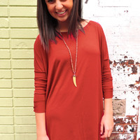 Wine Longsleeve Piko Dress