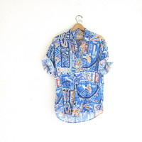 vintage rayon boyfriend shirt. southwestern resort wear. blue cactus and horse print shirt