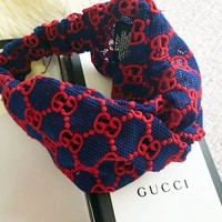 GUCCI Women High Quality New Fashion Embroidery More Letter Hollow Lace Headband Blue