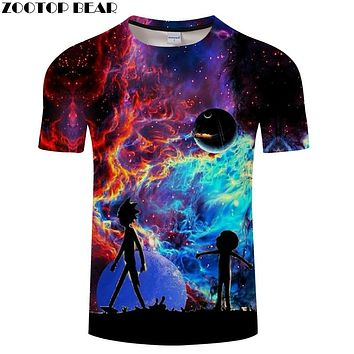 Rick and Morty t shirt Galaxy tshirt Men t-shirt 3D Tops&Tees Funny Short Sleeve Shirts 6XL Streetwear Cloth Dropship ZOOTOPBEAR