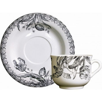 Gien Tulipes Noires Breakfast Cup and Saucer-Set of 2