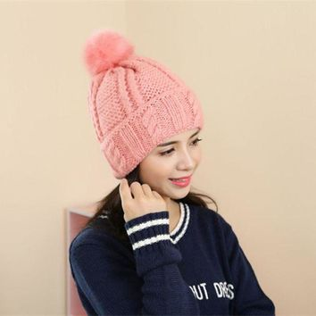 DCCKU62 2016 New Fashion Brand Women Fur Hat For Winter High Quality Knitted Wool Beanies Cap Fluffy Fur Pom pom Hats Casual Caps