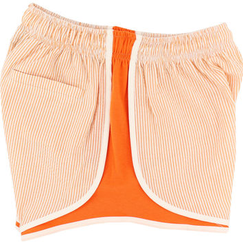 Shorties Shorts in Orange Seersucker by Lauren James