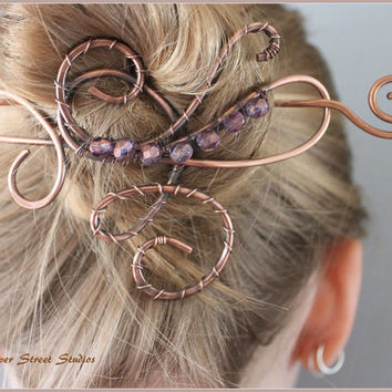 Copper Hair Slide with Faceted Purple Beads, Bun Holder, Hair Pin, Hair Barrette, Beaded Hair Accessories, Hair Jewelry, Wire Hair Pin