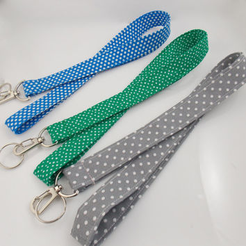 Polka Dot Lanyards Green Lanyard Blue Lanyard Teacher Lanyard Pewter Lanyard Polka Dot Key Holder Polka Dot Fabric Lanyard ID Badge Holder