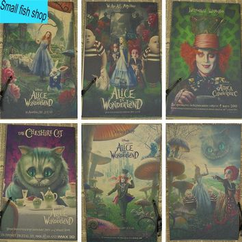 Alice in Wonderland Tim Burton Johnny Depp Home Furnishing decoration Kraft Movie retro Poster Drawing core Wall stickers